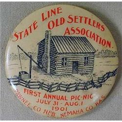 1901 CELLULOID PINBACK BUTTON - PAWNEE COUNTY NEBR