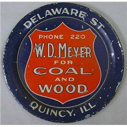 VINTAGE TIP TRAY W.D. MEYER COAL AND WOOD - QUINCY
