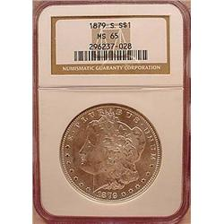 1879-S MORGAN SILVER DOLLAR - NGC MS65