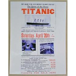 PHOTO REPRINT OF TITANIC TICKET FOR SALE POSTER -