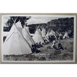 RPPC REAL PHOTO POSTCARD SIOUX INDIAN VILLAGE BLAC