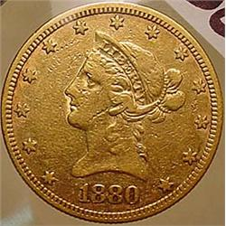 1880 10 DOLLAR LIBERTY GOLD COIN - See Pics to Gra