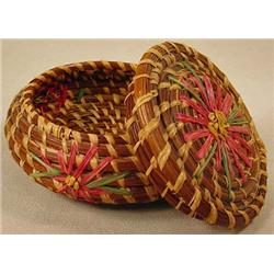 VINTAGE PINE NEEDLE NOTIONS BASKET W/ FLOWERS AND