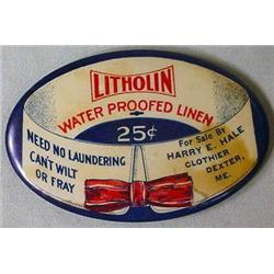 VINTAGE CELLULOID ADVERTISING MIRROR - LITHOLIN WA