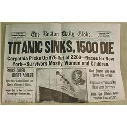 REPRODUCTION 1912 BOSTON DAILY GLOBE NEWSPAPER - T