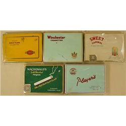 LOT OF 5 C. 1950'S FLAT CIGARETTE TINS - Incl. Swe