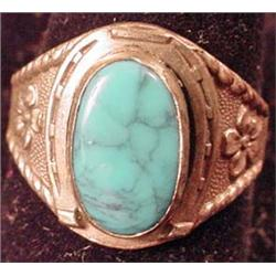 VINTAGE STERLING SILVER AND TURQUOISE LADIES RING