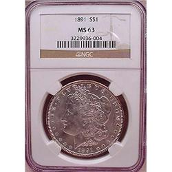 1891-P MORGAN SILVER DOLLAR - NGC MS63