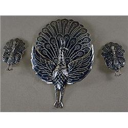 SIAM STERLING SILVER BROOCH AND EARRINGS