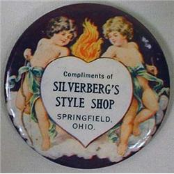 VINTAGE CELLULOID ADVERTISING POCKET MIRROR - SILV