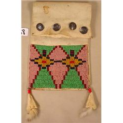 ANTIQUE NAVAJO RAWHIDE BEADED BAG W/ STERLING SILV