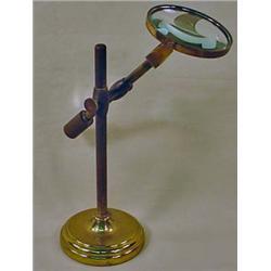 VINTAGE SOLID BRASS DESK MAGNIFYING GLASS - ADJUST