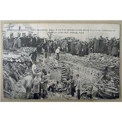 1913 POSTCARD EXHUMING BODIES AFTER TORNADO FROM I