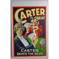 C. 1920'S CARTER THE GREAT MAGIC WINDOW POSTER PLA