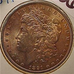 1891-P MORGAN SILVER DOLLAR - UNC. - MS63
