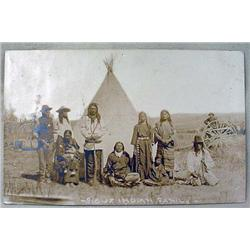 1908 RPPC REAL PHOTO POSTCARD SIOUX INDIAN FAMILY