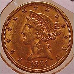 1881 5 DOLLAR LIBERTY GOLD COIN - See Pics to Grad
