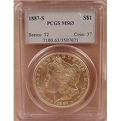 1887-S MORGAN SILVER DOLLAR - PCGS MS63