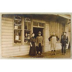RPPC REAL PHOTO POSTCARD CIGAR STORE FRONT - Signs