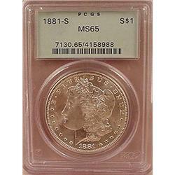 1881-S MORGAN SILVER DOLLAR - PCGS MS65