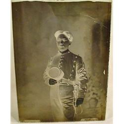 RARE GLASS NEGATIVE OF AN ASIAN SOLDIER W/ KEPI HA