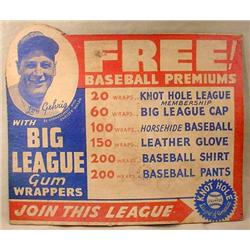 RARE 1920'S LOU GEHRIG STORE COUNTER ADVERTISING D