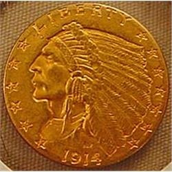 1914 2 AND A HALF DOLLAR INDIAN GOLD COIN - See Pi