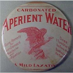 LARGE VINTAGE APERIENT WATER CELLULOID ADVERTISING