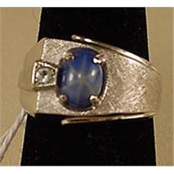 STERLING SILVER RING W/ BLUE GEMSTONE - POSS. STAR
