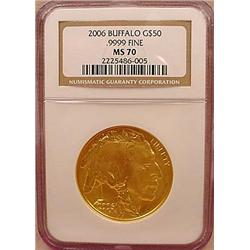 2006 50 DOLLAR BUFFALO GOLD COIN - NGC MS70