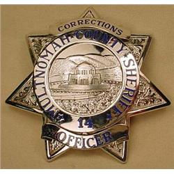 MULTNOMAH COUNTY SHERIFF BADGE NO. 14 - CORRECTION