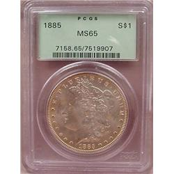 1885-P MORGAN SILVER DOLLAR - PCGS MS65