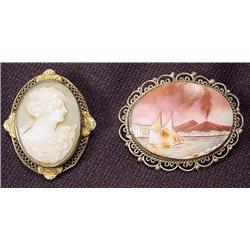LOT OF 2 VINTAGE SHELL CAMEOS - Incl. Victorian-st