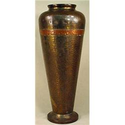 RUSSIAN HAND HAMMERED COPPER VASE - Russian mark e