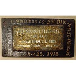 1918 UNIQUE WW1 I.D. TAG - 1ST BALLOON CO. 5TH DIV