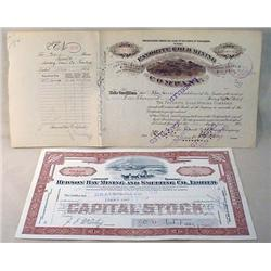 LOT OF 2 EARLY 1900'S STOCK CERTIFICATES - Incl. H