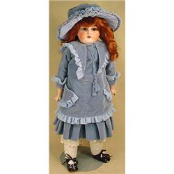 ANTIQUE GERMAN BISQUE DOLL W/ LEATHER BODY IN PERI