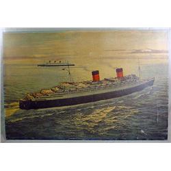 C. 1920'S OR 30'S RMS QUEEN ELIZABETH CUNARD PRINT
