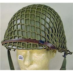 WW2 US HELMET W/ CHIN STRAP, LINER AND CAMO NET