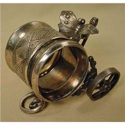 MERIDIAN SILVER NAPKIN RING W/ BUTTERFLY