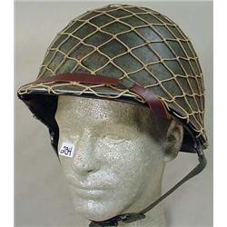 WW2 US ARMY HELMET W/ CHIN STRAP, LINER AND CAMO N