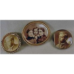 LOT OF 3 VINTAGE CELLULOID PHOTO BROOCHES