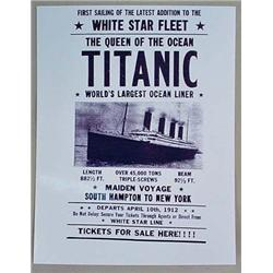 PHOTO REPRINT OF TITANIC TICKETS FOR SALE POSTER -