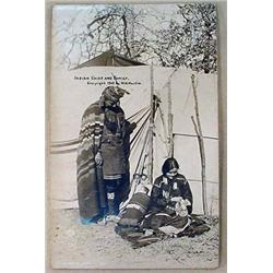 1909 RPPC REAL PHOTO POSTCARD OF AN INDIAN CHIEF A