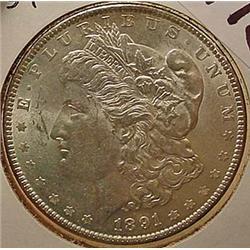 1891-P MORGAN SILVER DOLLAR - UNC. - MS62