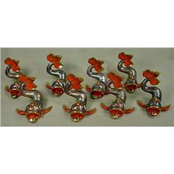 LOT OF 8 HEREND HVNGARY FIGURAL FISH PLACE CARD HO