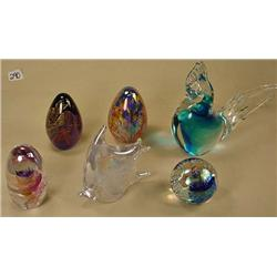 LOT OF 6 GLASS FIGURINES AND PAPERWEIGHTS - Incl.