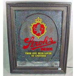 STROH'S BEER LIGHTED MIRROR SIGN