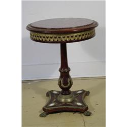A Continental Red Marble Topped Center Table.