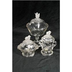 A Group of Three Old Abe Pattern Pressed and Etched Glass Items, Including a Compote, Jar and Dish.